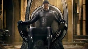 Promo image from Black Panther of Chadwick Boseman on a throne