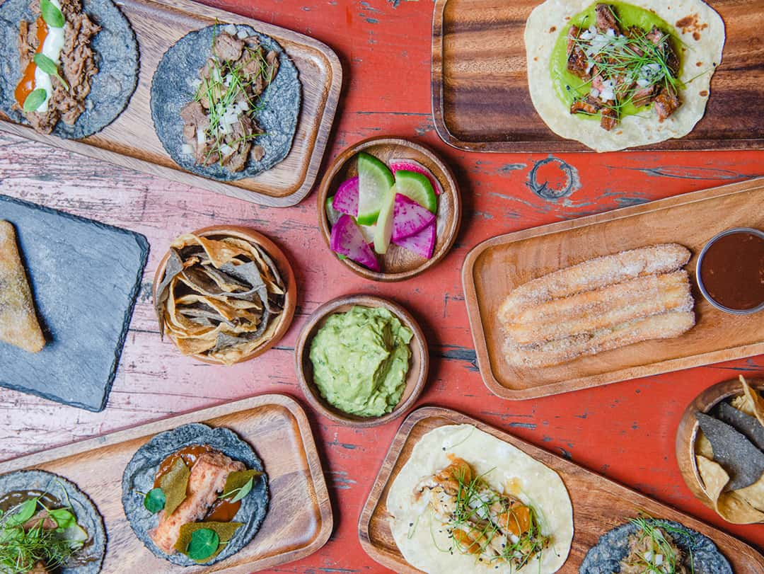 Overhead shot of delicious tacos and food from Parklife Brooklyn