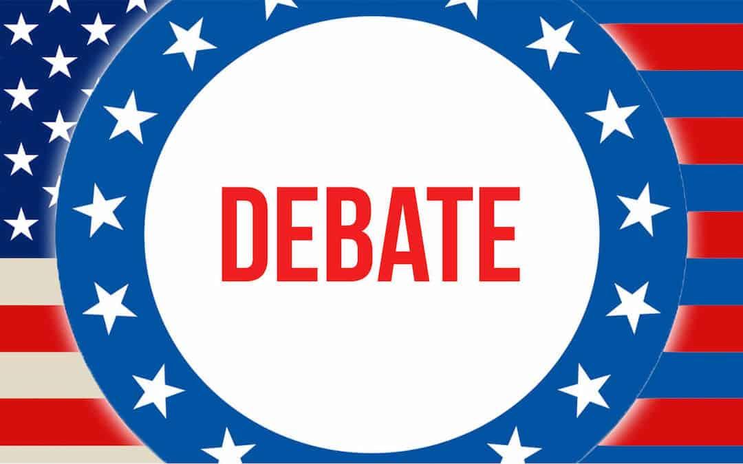 Debate written over American flag background