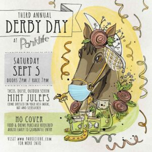 Kentucky Derby illustrated poster with horse wearing a mask